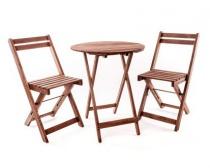 HAPPY GREEN Balkonový dřevěný set ACACIA, 3 ks, kulatý stůl