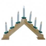 svícen vánoční el. 7 svíček, jehlan, dřev.přírodní