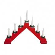 svícen vánoční el. 7 svíček, jehlan, dřev.ČRV