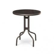 Zahradní stolek kovový se skleněnou deskou průměr 60 cm