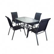 set zahradní kov ŠE tm./sklo stůl + 4 židle ČER