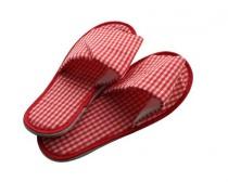 Pantofle domácí káro dámské (26-28 cm) a pánské (29-32 cm), červené, hnědé, černé