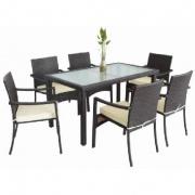 set zahradní ratan PH/kov/sklo stůl + 6 židlí s polštářem HN