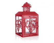 HOME DECOR Lucerna plechová střední 12 x 12 x 23,5 cm, dekor srdce, červená