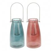 lucerna na svíčku 15x26,5cm sklo+kov mix barev