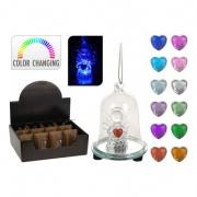 dekorace LED ZVONEK s andělíčkem pr.6x8cm sklo mix