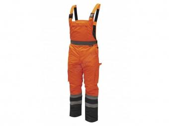 Reflexní zateplené kalhoty s laclem vel. S,oranžové